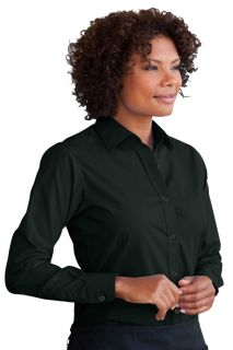 Womens Blended Poplin Shirt-Vantage
