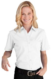 Womens Blended Poplin Short Sleeve Shirt-Vantage