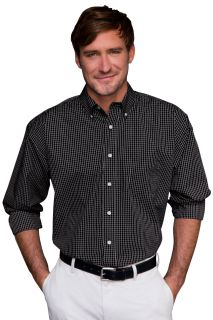 Easy-Care Poplin Box Plaid Shirt-Vantage