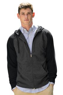 Full-Zip Two-Tone Jersey Knit Hoodie-Vantage