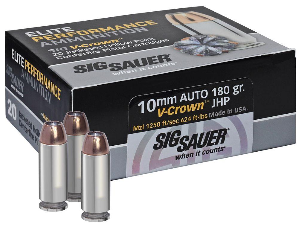 Sig Sauer 10MM, 180GR, ELITE V-CROWN, JHP-