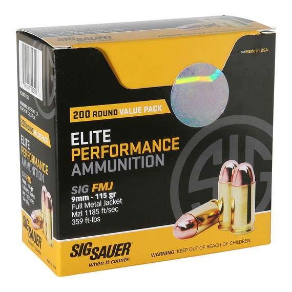 Sig Sauer 9MM, 115GR, ELITE BALL, FMJ Value Pack 200rds-