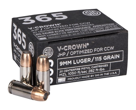 Sig Sauer 9MM, 115GR, ELITE V-CROWN 365, JHP-