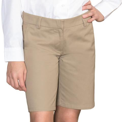 "AUW UNIVERSAL Girl's ""Adjustable Waist"" Flat Front Shorts-All Uniform Wear"