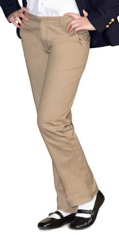 AUW UNIVERSAL Girl's Adjustable Waist Straight Leg Flat Front Pants-All Uniform Wear