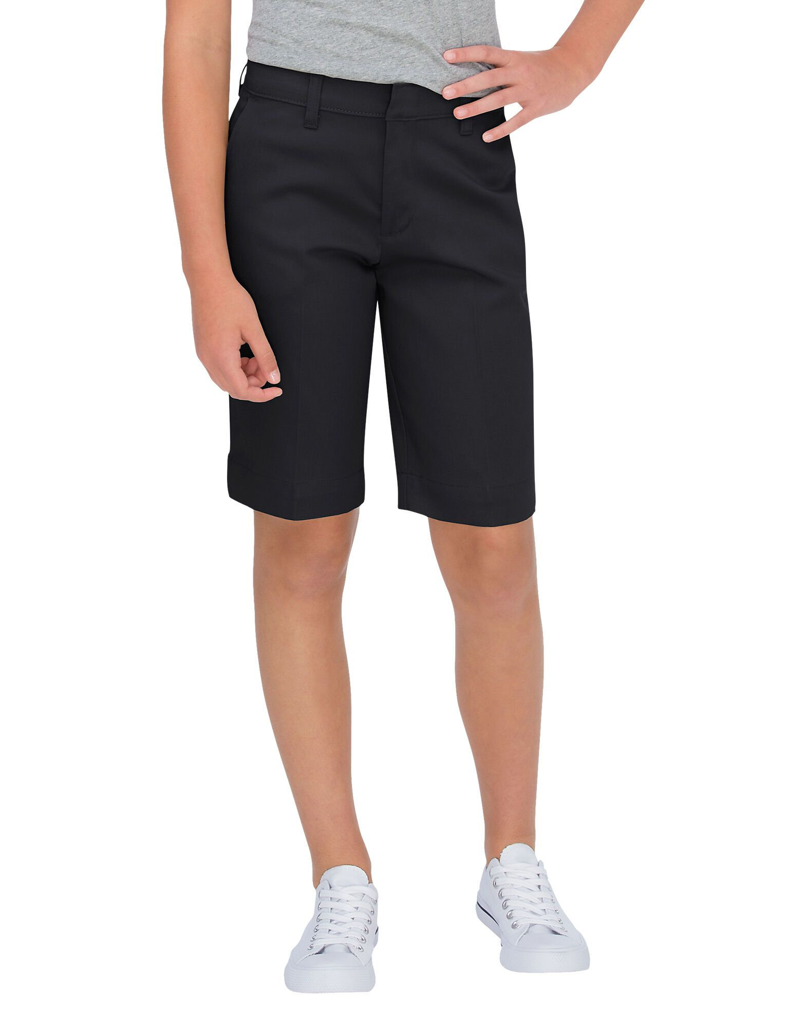 Girls Classic Fit Bermuda Stretch Twill Shorts, 7-20-DK