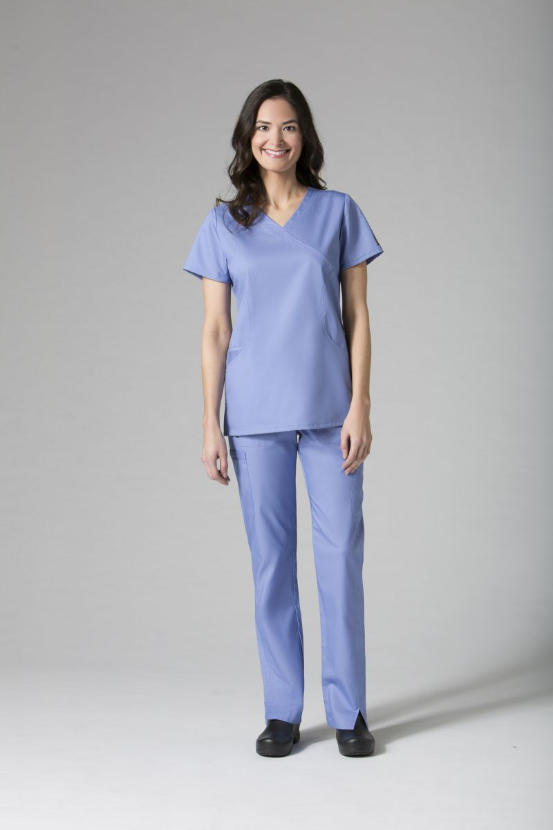 AUW - ACTIVE Sporty Mesh Mock Wrap Scrub Top-