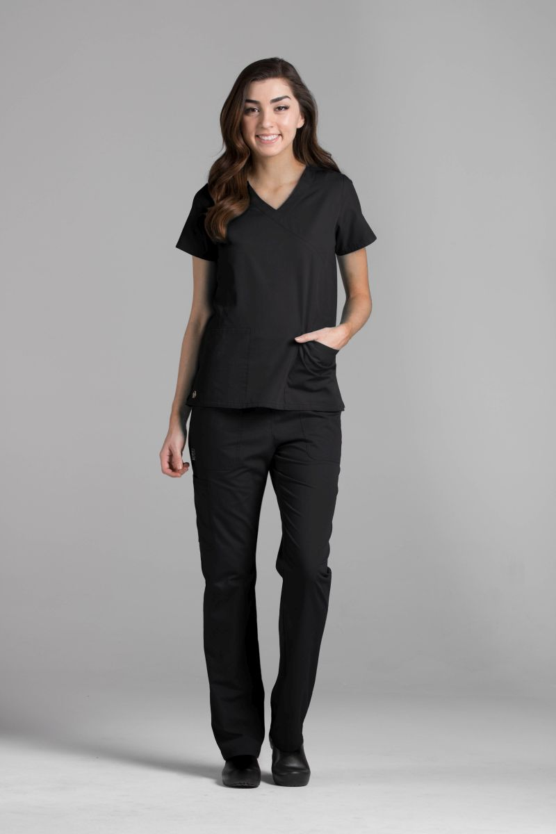 Mock Wrap Scrub Top - AUW ESSENTIALS Tops-AUW ESSENTIALS
