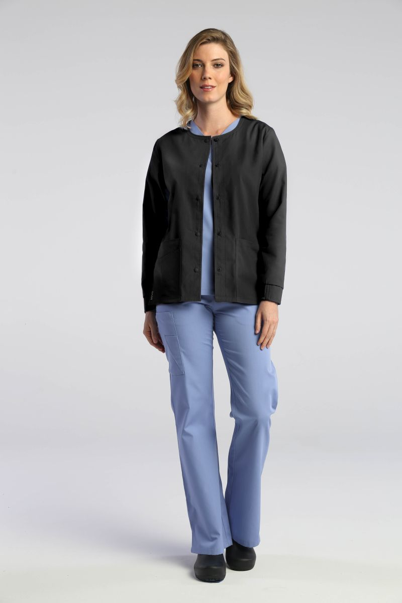 AUW ESSENTIALS: Ladies Round Neck Snap Front Jacket-AUW ESSENTIALS