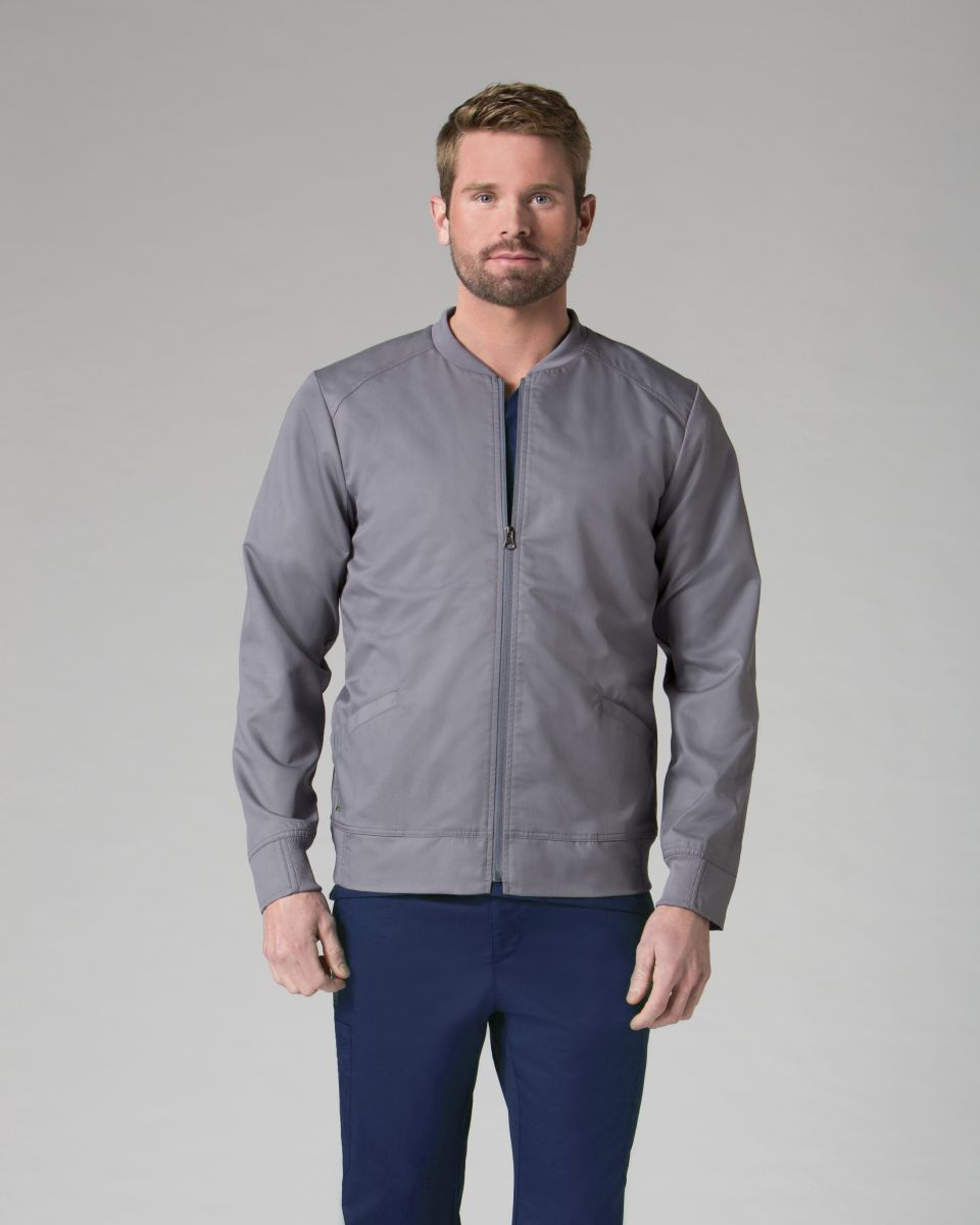 AUW - ACTIVE Mens Round Neck Zip Front Jacket-AUW ACTIVE