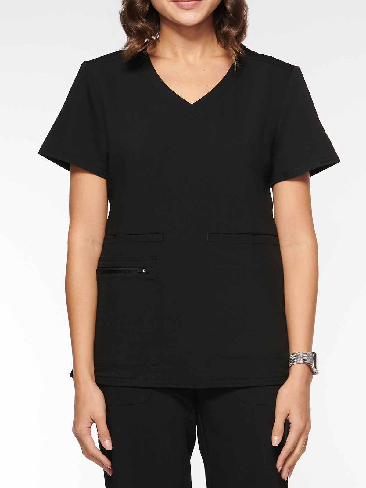 Womens Top Rounded V-Neck with 4 Pockets