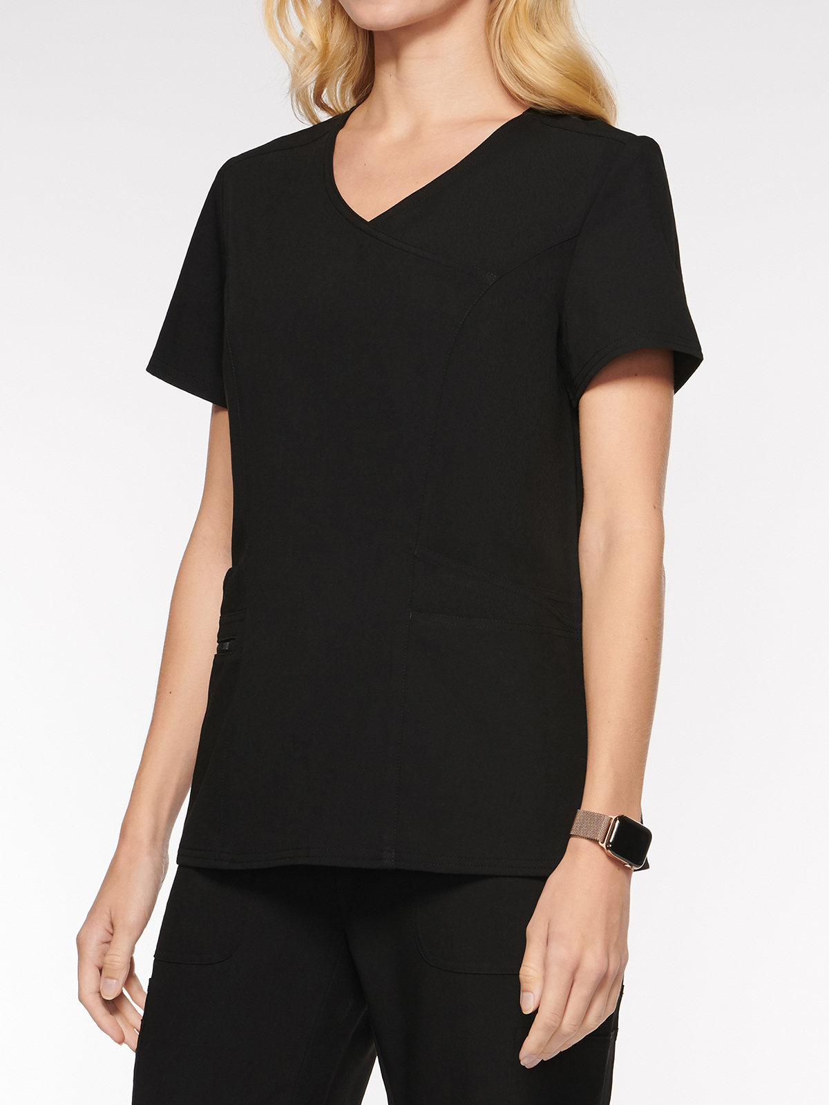 Womens Top Mock Wrap with 6 Pockets