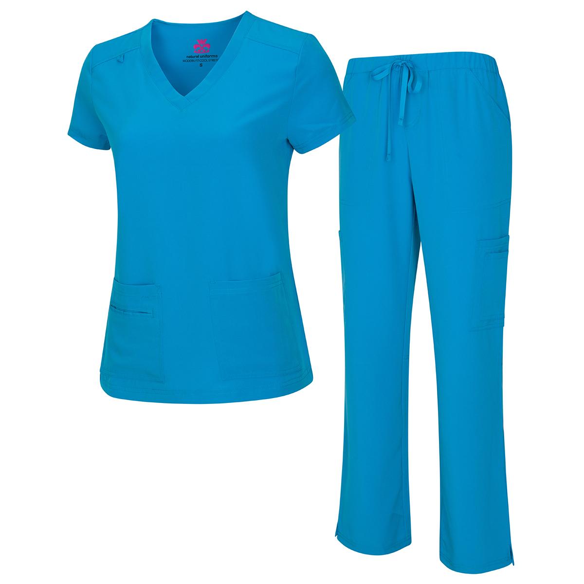 10 Pocket Cool Super Stretch Scrub Set - Natural Uniform -Natural Uniforms