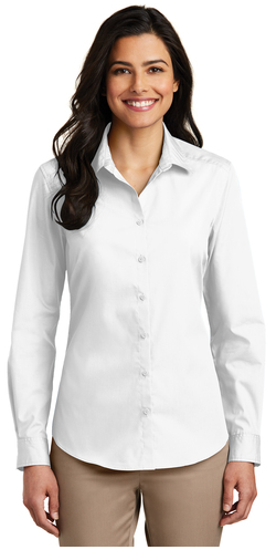 Ladies Long Sleeve Carefree Poplin Shirt-Prism Medical Apparel