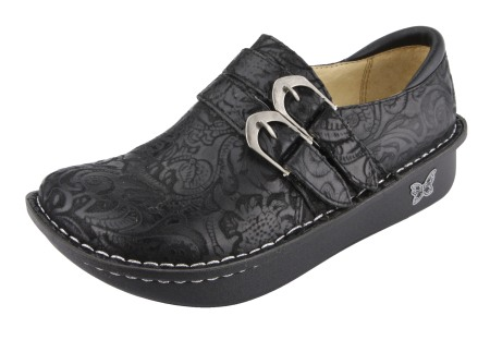 Alli Black Embossed Paisley Shoe-Alegria