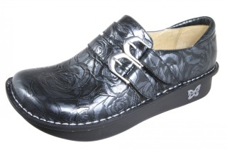 Alli Black And Silver Rose Shoe-Alegria