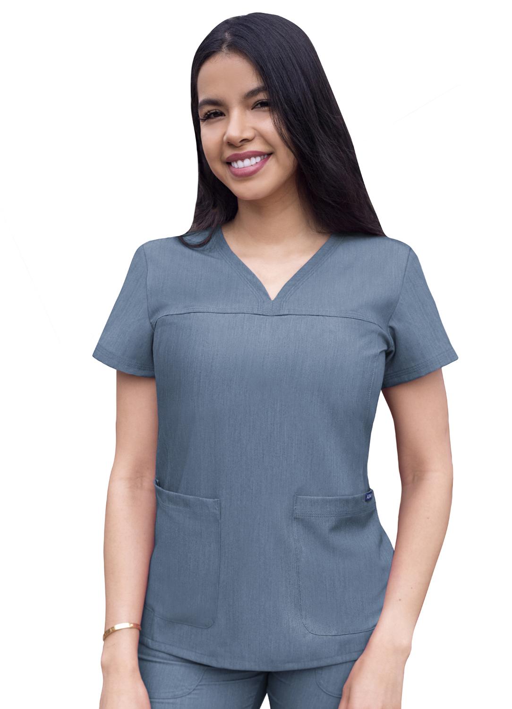 ADAR Pro Womens weetheart V-neck crub Top-Adar Medical Uniforms