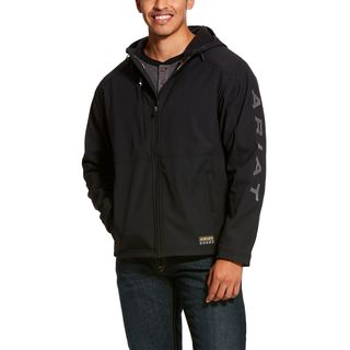 Rebar Stretch Canvas Softshell Hooded Logo Jacket-Ariat