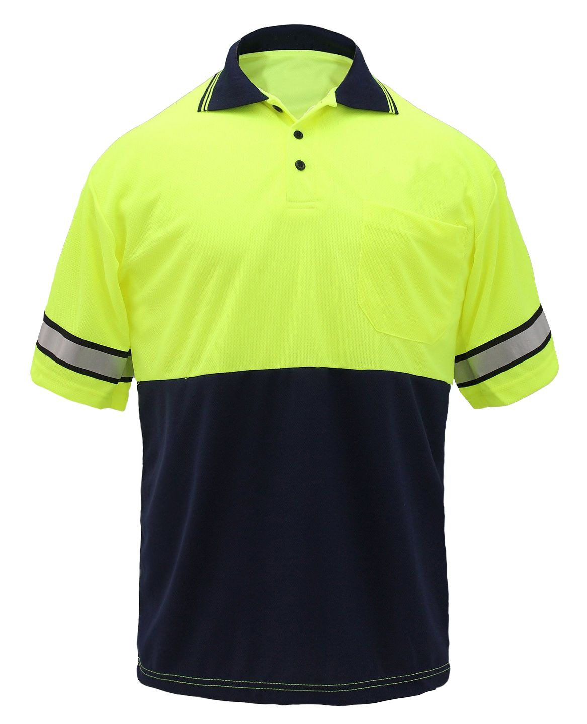 High Visability Two Tone Polo Shirt w/Reflective Stripes-First Class