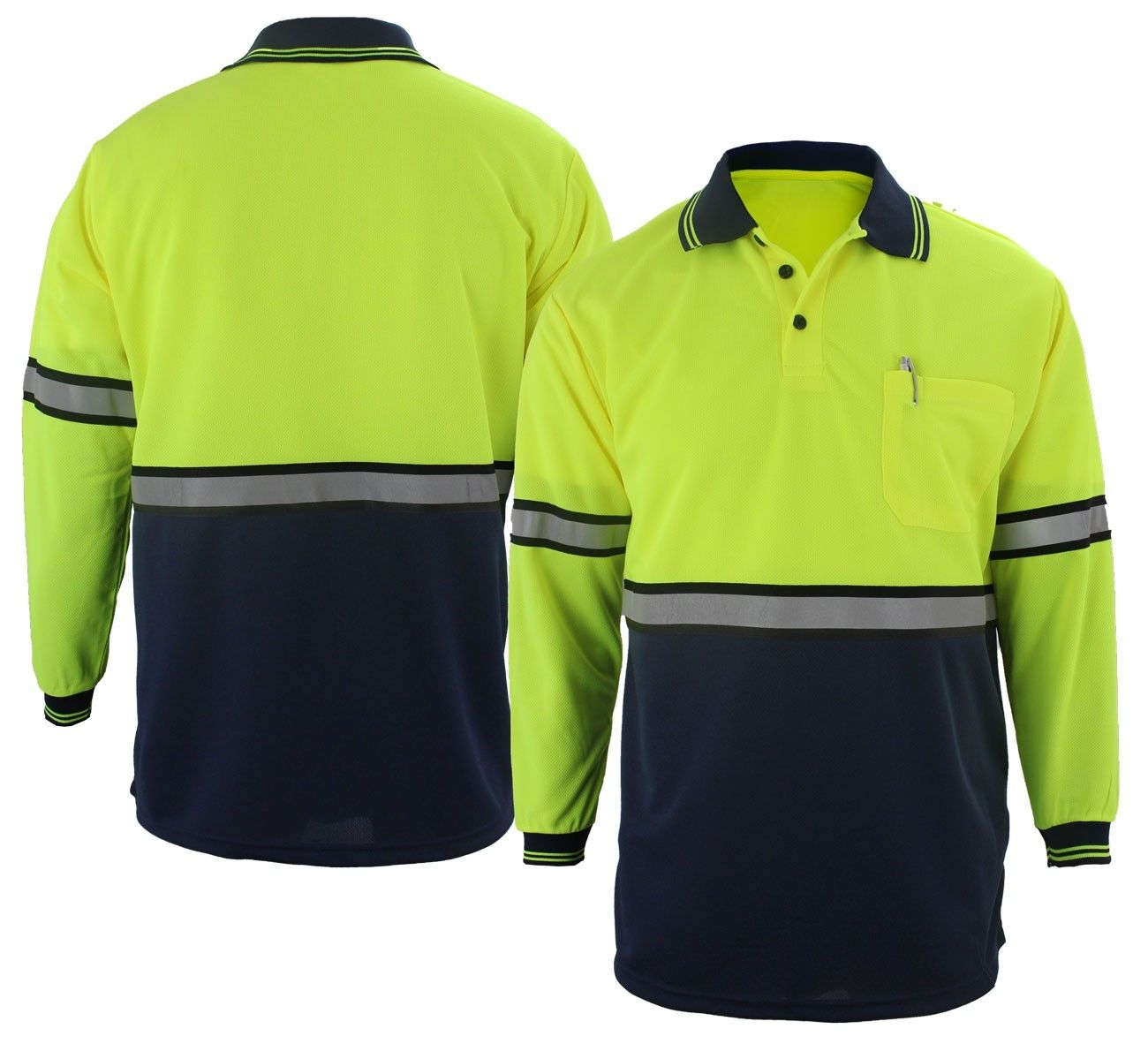 Two Tone L/S Polo Shirt w/Reflective Stripes-First Class