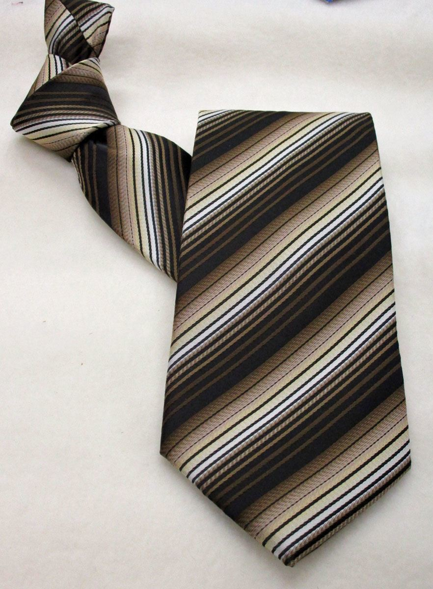 Career Pattern  Tie  with Brown and Black Stripe - In Stock