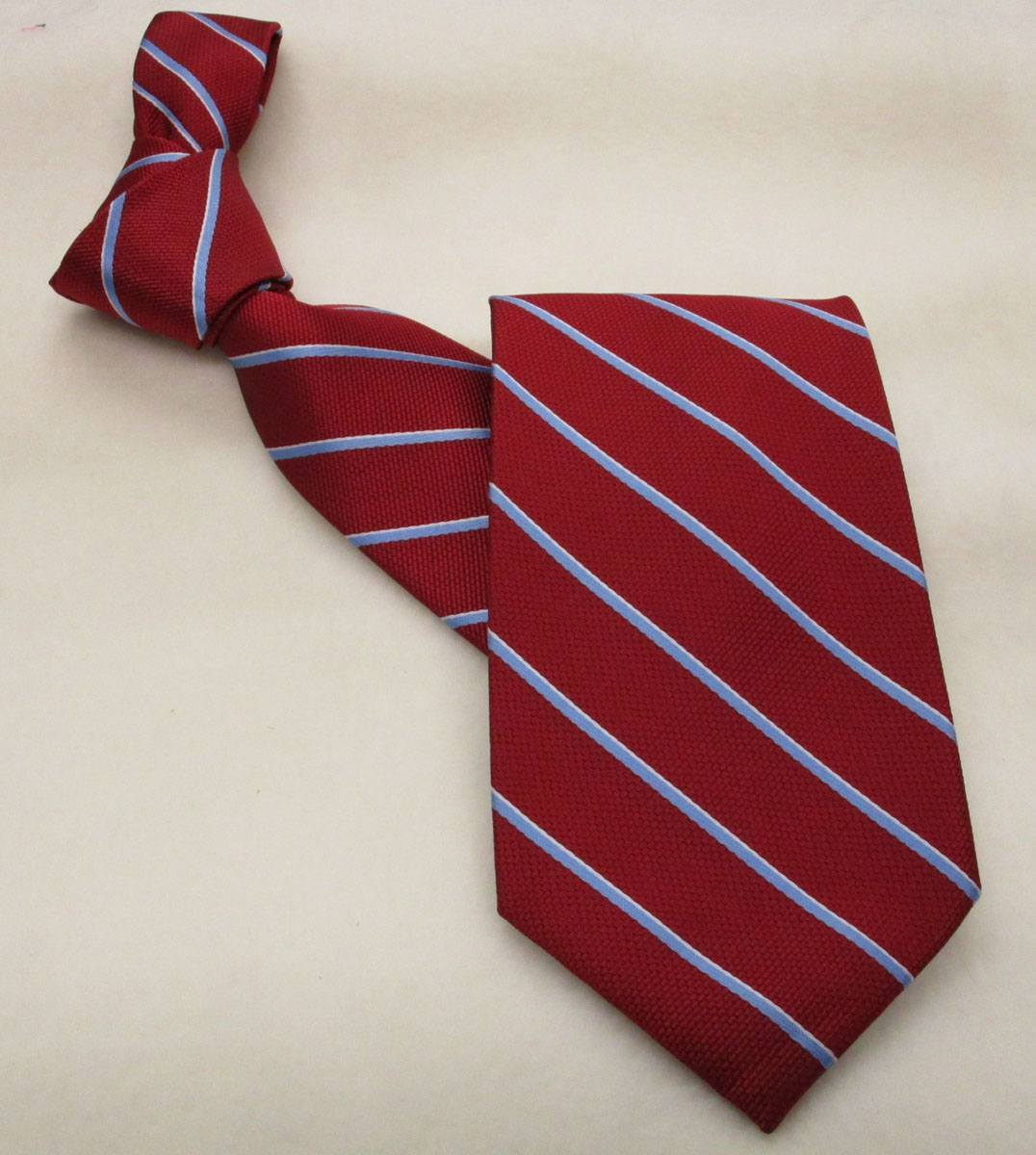 Career Pattern Tie  Red with Lt Blue Stripe - In Stock