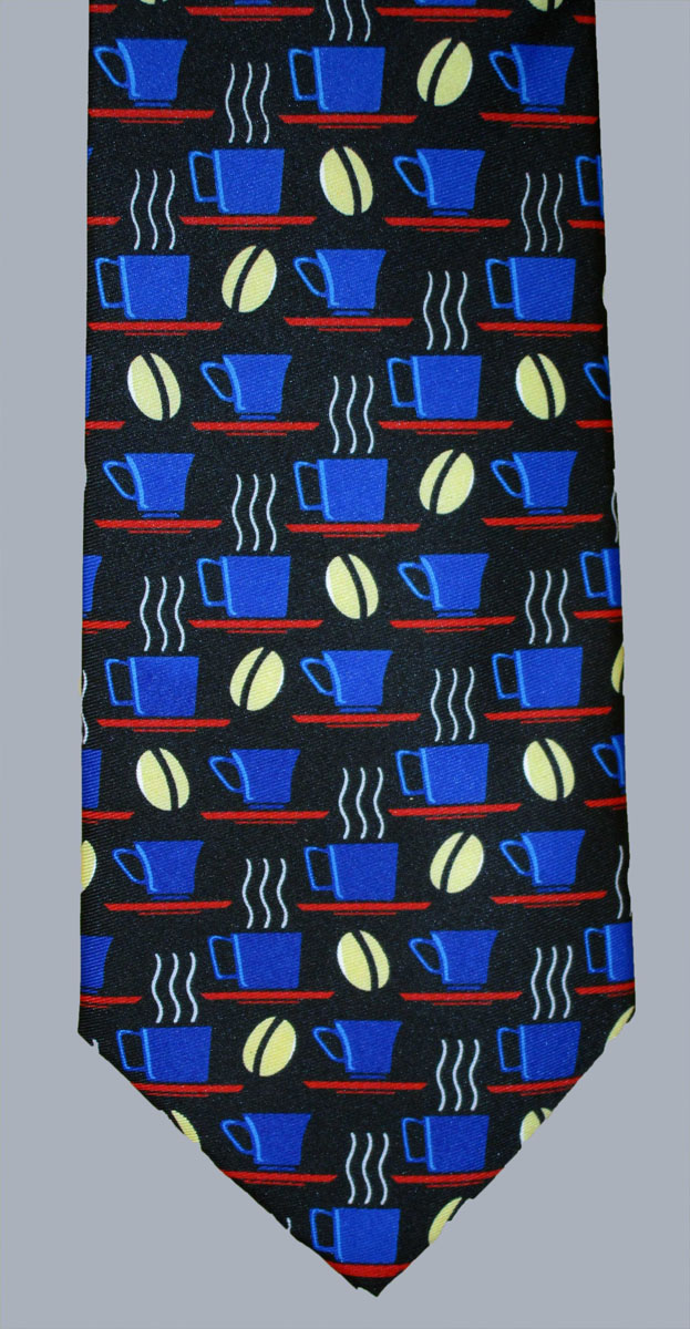 Stock - Coffee Bean & Cup Printed Tie
