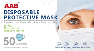 3 Ply Disposable Protective Mask : Order Tier 51-500 (2,000 pieces per case)-