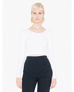 Ladies Cotton Spandex Long-Sleeve Crop Top