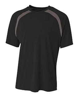 Mens Spartan Short Sleeve Color Block Crew Neck T-Shirt-