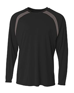 Mens Spartan Long Sleeve Color Block Crew Neck T-Shirt-A4