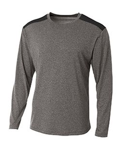 Mens Tourney Heather Color Block Long Sleeve T-Shirt-