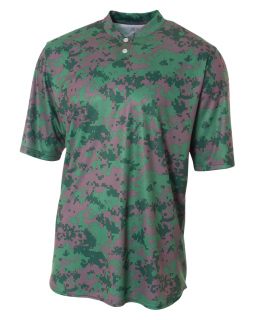 Camo 2-Button Henley Shirt-