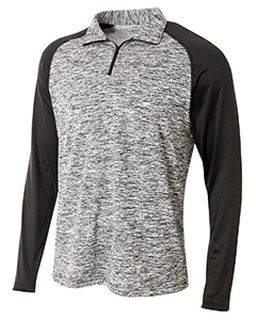 Adult Space-Dye 1/4 Zip With Contrast Sleeve-