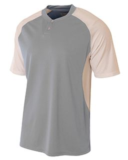 Youth Performance Contrast 2 Button Baseball Henley T-Shirt-