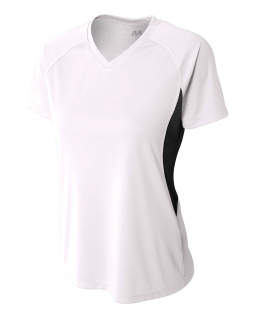 Ladies Color Block Performance V-Neck T-Shirt-