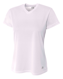 Ladies Birds-Eye Mesh V-Neck T-Shirt-A4
