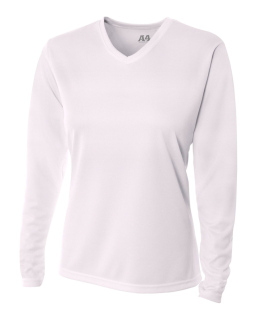 Ladies Birds-Eye Mesh Long Sleeve V-Neck T-Shirt-A4
