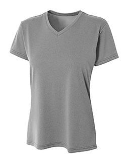 Ladies Topflight Heather V-Neck T-Shirt-A4