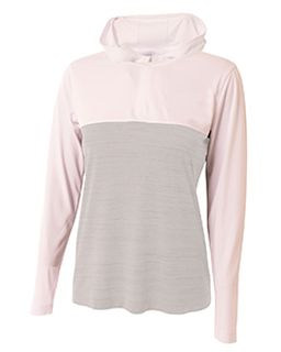 Ladies Slate Quarter-Zip Hooded Sweatshirt-A4