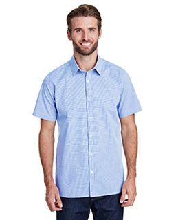 Mens Microcheck Gingham Short-Sleeve Cotton Shirt-