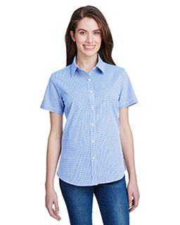 Ladies Microcheck Gingham Short-Sleeve Cotton Shirt-Artisan Collection by Reprime