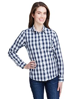 Ladies Mulligan Check Long-Sleeve Cotton Shirt-Artisan Collection by Reprime