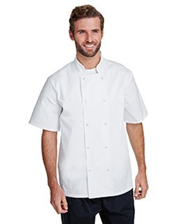 Unisex Studded Front Short-Sleeve Chefs Coat-