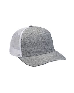 Heather Woven/Soft Mesh Trucker Cap-