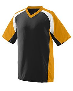 Youth Wicking Polyester V-Neck Short-Sleeve Jersey With Inserts-