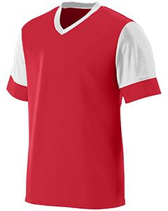 Youth Wicking Polyester V-Neck Jersey With Contrast Sleeves-