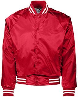 Unisex Striped Trim Satin Baseball Jacket-