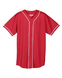 Wicking Mesh Braided Trim Baseball Jersey-Augusta Sportswear
