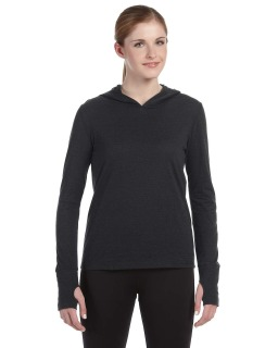 Ladies Performance Triblend Long-Sleeve Hooded Pullover With Runners Thumb